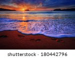dramatic ocean sunrise with... | Shutterstock . vector #180442796