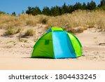 Wind Breaker Tent On A Sandy...