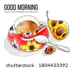 cup of aromatic cold tea with... | Shutterstock . vector #1804433392