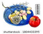 ripe fruit. apple  grapes ... | Shutterstock . vector #1804433395