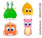 happy cartoon monsters. fluffy...   Shutterstock .eps vector #1804435138