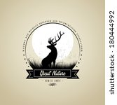 adventure,animal,badge,deer,design,emblem,hunting,label,moon,nature,reindeer,retro,symbol,target,trophy