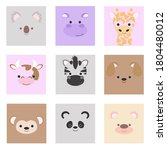 set of faces of wild and... | Shutterstock .eps vector #1804480012