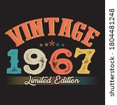 1967 vintage style t shirt design vector,  black background