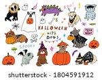 halloween cartoon dogs  pumpkin ... | Shutterstock .eps vector #1804591912