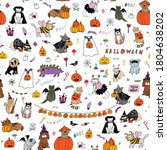 halloween seamless vector... | Shutterstock .eps vector #1804638202