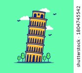 the leaning tower of pisa  or... | Shutterstock .eps vector #1804745542