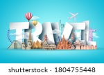 travel 3d text vector design.... | Shutterstock .eps vector #1804755448