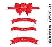 red ribbon banner with white...   Shutterstock .eps vector #1804767955