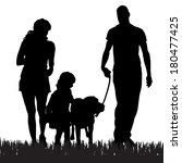 Stock vector vector silhouette of a family with a dog for a walk 180477425