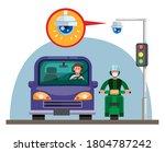 cctv camera on traffic light in ... | Shutterstock .eps vector #1804787242