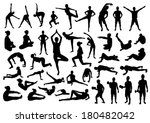 fitness silhouettes | Shutterstock .eps vector #180482042