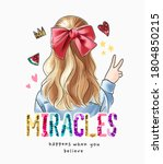 colorful sequins miracle slogan ... | Shutterstock .eps vector #1804850215