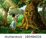 young girl finds a talking tree ... | Shutterstock . vector #180486026