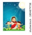 church illustration jesus... | Shutterstock .eps vector #1804879738