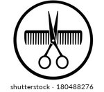 black round sign with scissors... | Shutterstock .eps vector #180488276