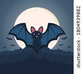 bat. flying bat halloween... | Shutterstock .eps vector #1804939882