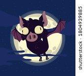bat. flying bat halloween... | Shutterstock .eps vector #1804939885