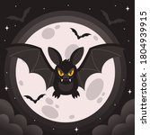 bat. flying bat halloween... | Shutterstock .eps vector #1804939915
