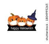 Happy Halloween. Pumpkins With...