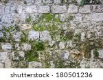 Texture of stone wall with moss - stock photo