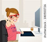 artist,cartoon,coffee,computer,creativity,designer,desk,digital,drawing,fashion,female,girl,glasses,graphic,happy