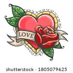 heart  rose flowers  ribbon and ... | Shutterstock .eps vector #1805079625