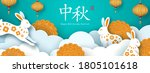 white rabbits and mooncakes in...   Shutterstock .eps vector #1805101618