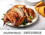 Carved Roasted Turkey For The...