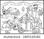 halloween coloring page   black ... | Shutterstock .eps vector #1805120182