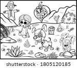 halloween coloring page   black ... | Shutterstock .eps vector #1805120185