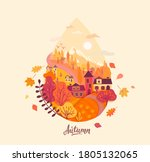 autumn drop with fall landscape ... | Shutterstock .eps vector #1805132065