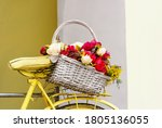A Wicker Basket With Bright...