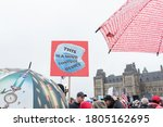 Small photo of OTTAWA - AUGUST 29, 2020: Despite the rain thousands converge at Parliament Hill to take part in the Ottawa Freedom Protest against the government's covid-19 control measures to contain the virus.