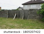 Old Gray Wooden Gate And Fence...