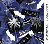 trendy summer beach vacation... | Shutterstock .eps vector #1805389495