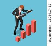 flat 3d isometric businessman...   Shutterstock .eps vector #1805417452