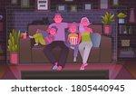 happy family watching tv. mom ... | Shutterstock .eps vector #1805440945