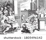 odysseus in the palace of circe.... | Shutterstock .eps vector #1805496142
