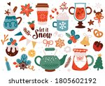cute christmas decoration set.... | Shutterstock .eps vector #1805602192