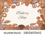 bread  loaf  baguette  bun ... | Shutterstock .eps vector #1805605642