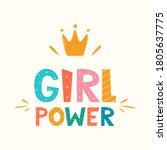 girl power  lettering with... | Shutterstock .eps vector #1805637775