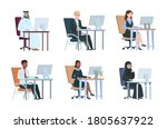 business people working at... | Shutterstock .eps vector #1805637922