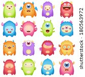 Stock vector cute monsters 180563972