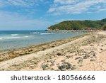 Beach at a tropical resort, Labadee, Haiti - stock photo
