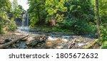 Decew Falls from the gorge below Morningstar Mill turbine shed St Catharines Niagara Region