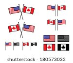 usa and canadian flags in...