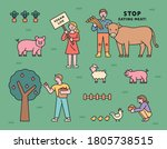 vegetarians who protect farm... | Shutterstock .eps vector #1805738515