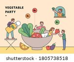 people are making salads in a... | Shutterstock .eps vector #1805738518