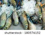 fresh shrimp on ice | Shutterstock . vector #180576152